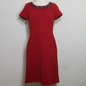 Tablbots Red Embellished Ribbed Dress 4